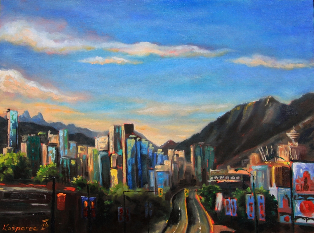 Oil painting - Cambie bridge and Yaletown view