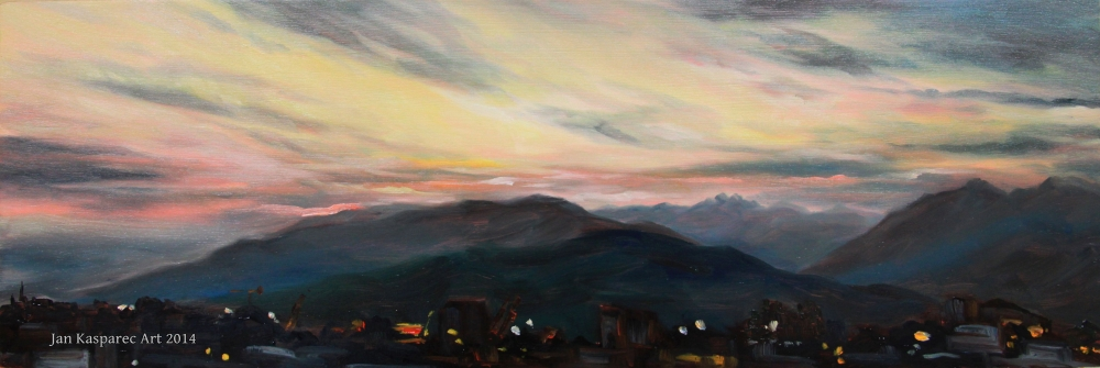 Oil painting - August sunset study