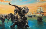 Elephants were playing, Buddha was meditating and then the ship arrived - oil painting