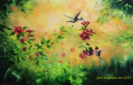 Kolibříci na šípkové růži - olejomalba, obraz
