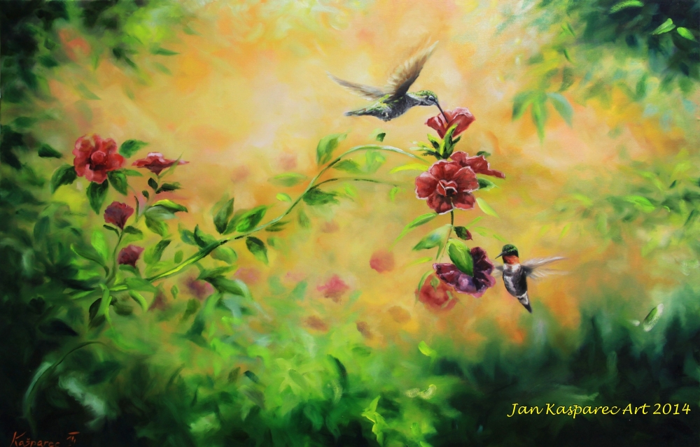 Oil painting - Rose bush humming birds