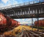 Vagons under the Terminal Avenue bridge - oil painting