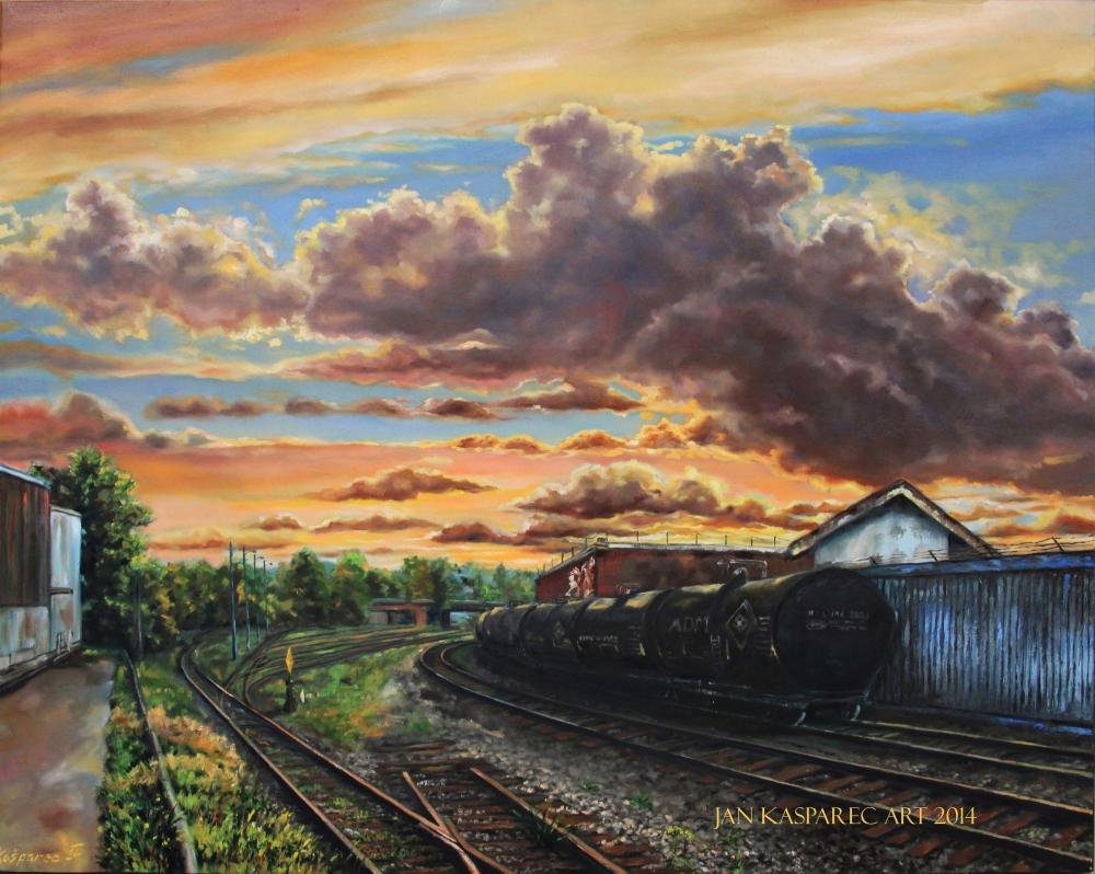 Oil painting - Sunset over Glen drive railways
