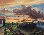 Západ slunce na tratí na Glen drive - olejomalba, obraz