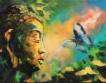 Buddha s motýlem - olejomalba, obraz