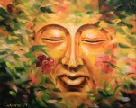 Buddha in rose blossoms - oil painting