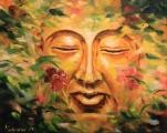 Buddha v květech šípkové růže - olejomalba, obraz
