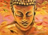Buddha within falling leaves - oil painting