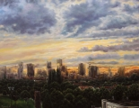 Chestnut sunset over Vancouver - oil painting