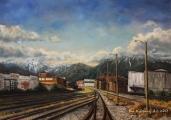 Railways on Glen drive - oil painting