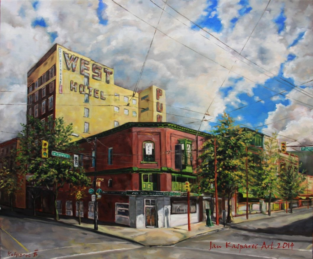 Oil painting - Vancouver Chinatown, West Pender and Carral street intersection