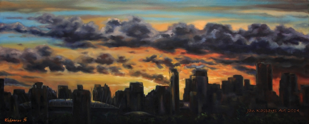 Oil painting - Vancouver city sunset skyline