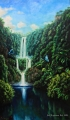 Butterflies at the waterfalls - oil painting