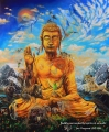 Buddha surrounded by spirits of animals - oil painting