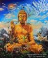 Buddha obklopen dušemi zvířat - olejomalba, obraz