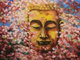 Buddha in sakuras - oil painting