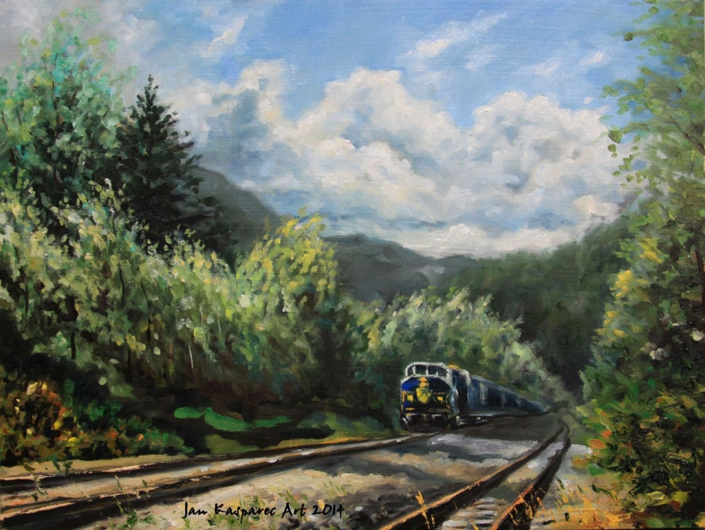 Oil painting - Rocky Mountaineer at Brakendale