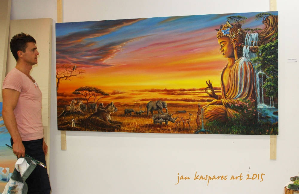 Oil painting - Buddha the life giver, with author