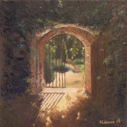 Gate at Petřín, Prague - oil painting