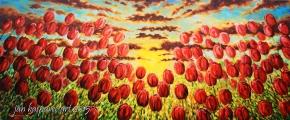 Západ slunce v tulipánech - olejomalba, obraz
