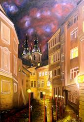 Street with torches, Prague - oil painting