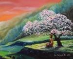 Buddha pod rozkvetlou třešní - olejomalba, obraz
