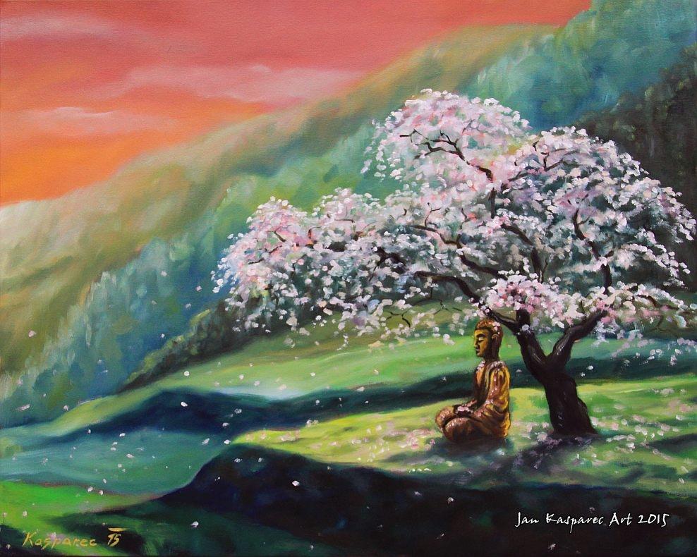 Oil painting - Buddha under Sakura