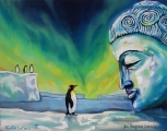 Buddha with penguin - oil painting