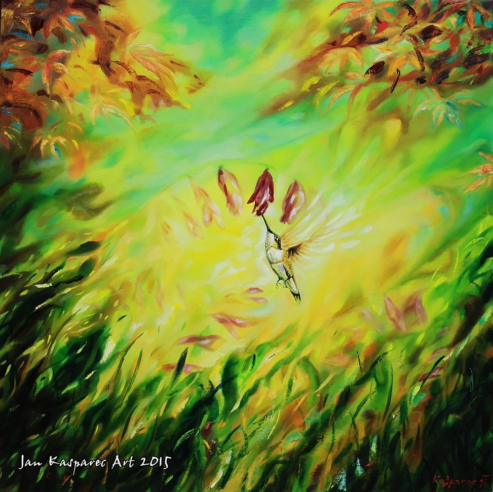 Oil painting - Humming bird in light