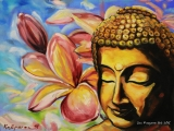 Buddha in Magnolias - oil painting