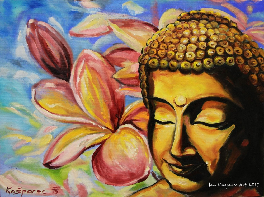 Oil painting - Buddha in Magnolias