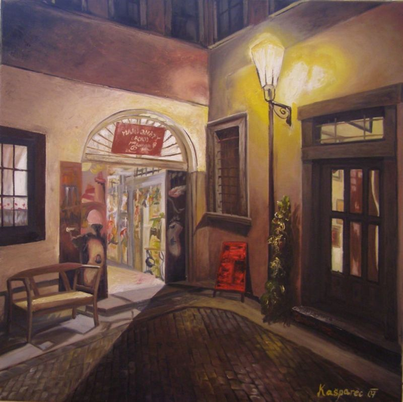 Oil painting - Under the lamp, Prague