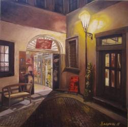 Under the lamp, Prague - oil painting