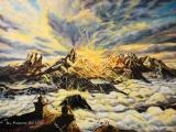 Himalayan Buddha Sunset - paintings