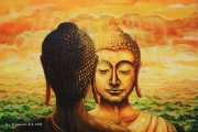 Facing Buddha - oil painting