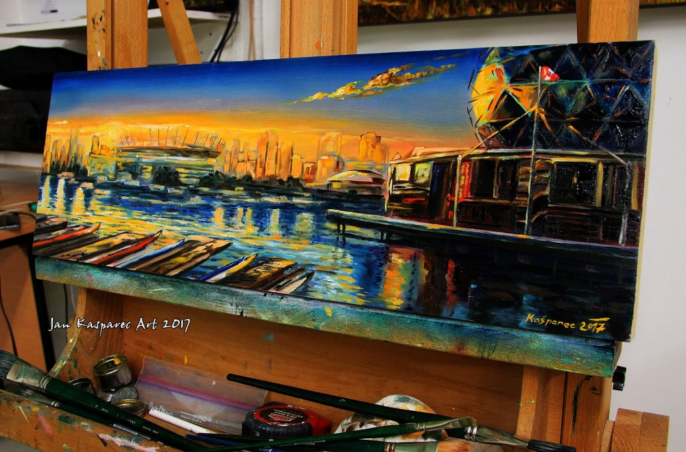 Oil painting - Science World sunset (Vancouver)