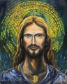 Bitcoin Ježíš - olejomalba, obraz