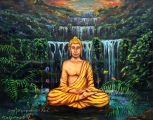 Buddha at the Waterfall Study on wood - olejomalba
