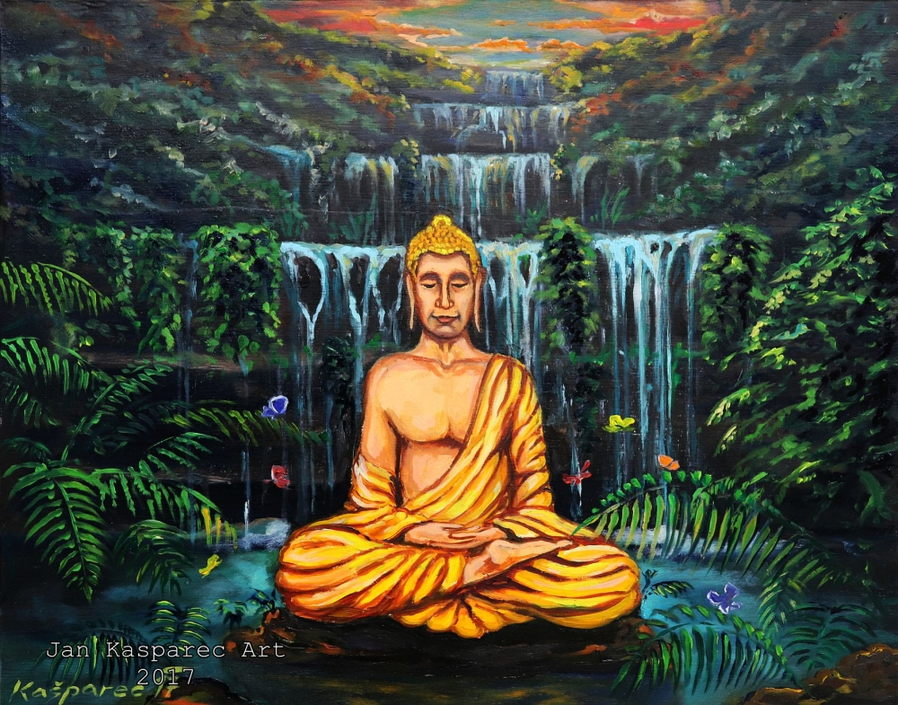 Oil painting - Buddha at the Waterfall Study on wood