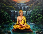Buddha at the Waterfall II Study on wood - olejomalba