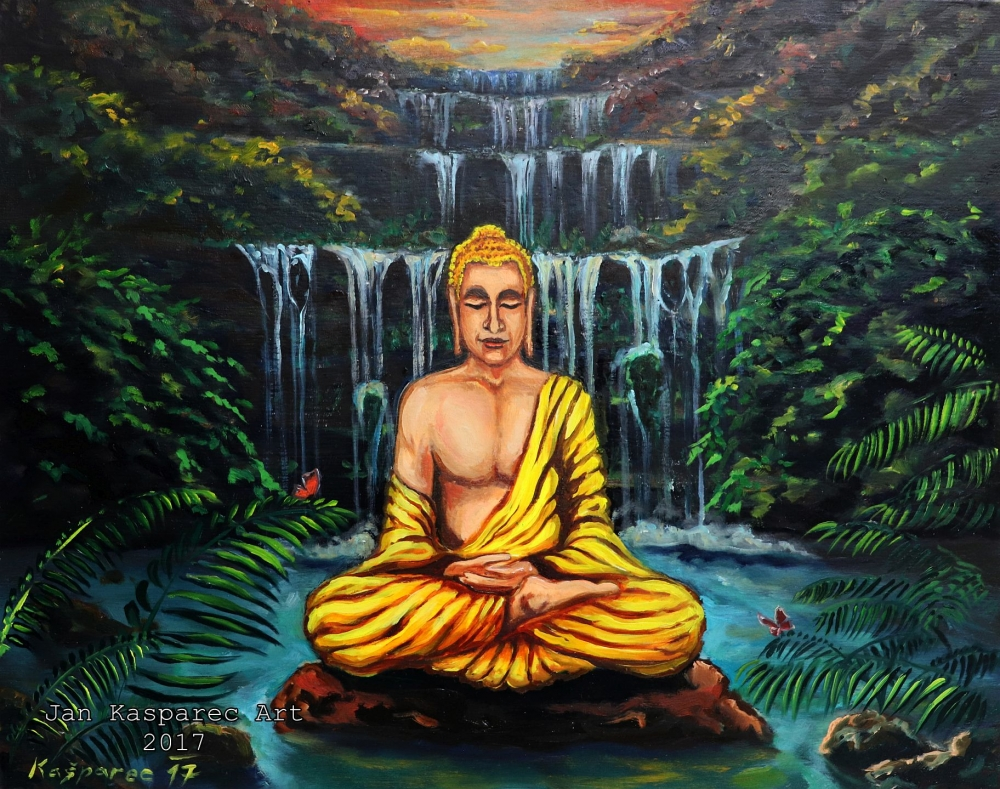 Obraz - Buddha at the Waterfall II Study on wood