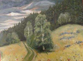 Stmívání v Bukovicích, Jeseníky - olejomalba, obraz