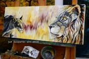 Fierce Lioness & Majestic Lion - olejomalba, obraz