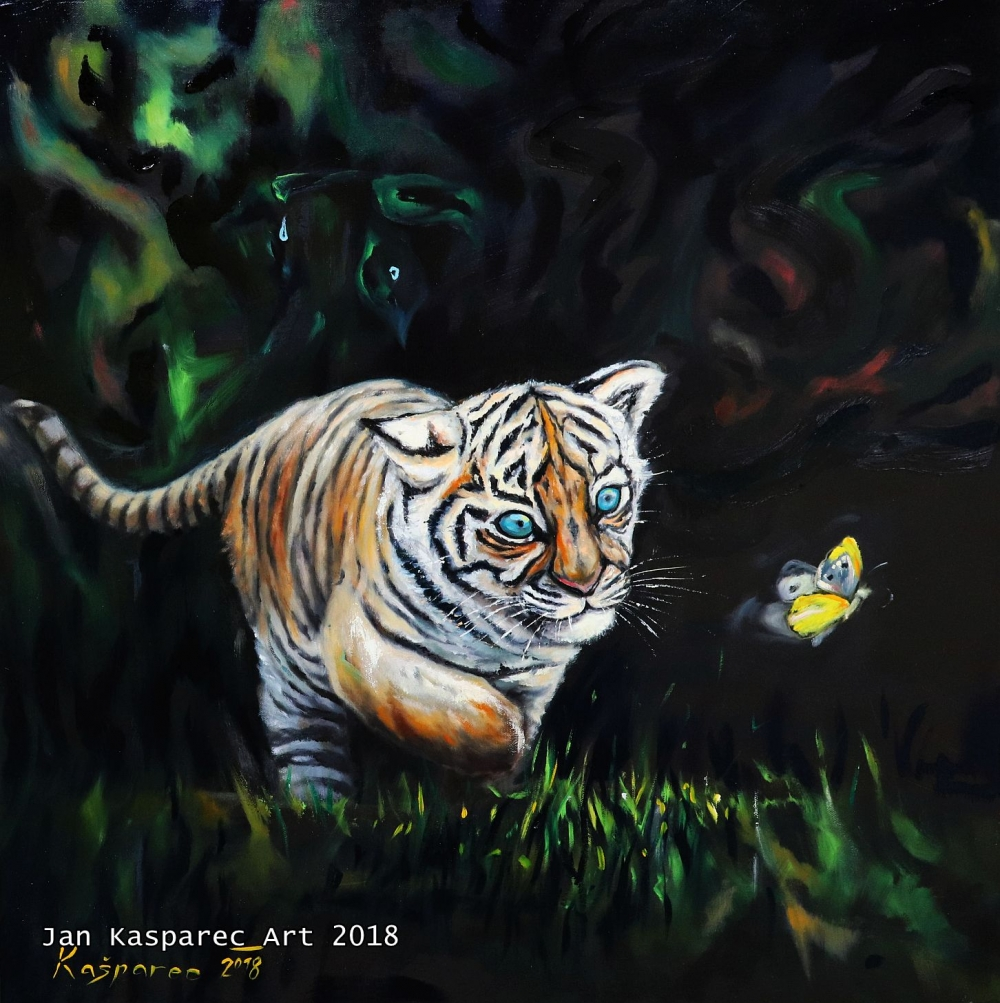 Oil painting - Chasing Butterfly