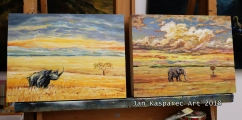 Rhino & Elephant (Bull SAGA 1) - paintings