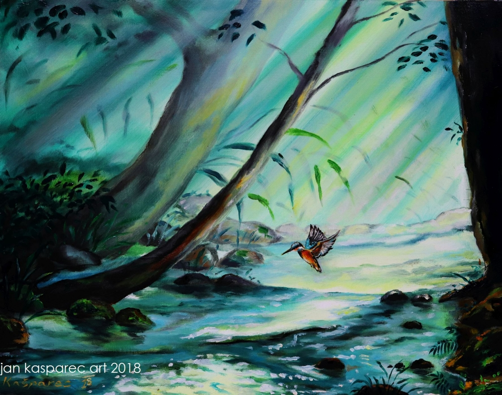 Oil painting - Kingfisher study (oil on wood)