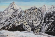 Snow Leopard - oil painting