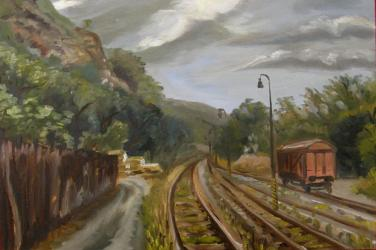 Modrany railway station - oil painting