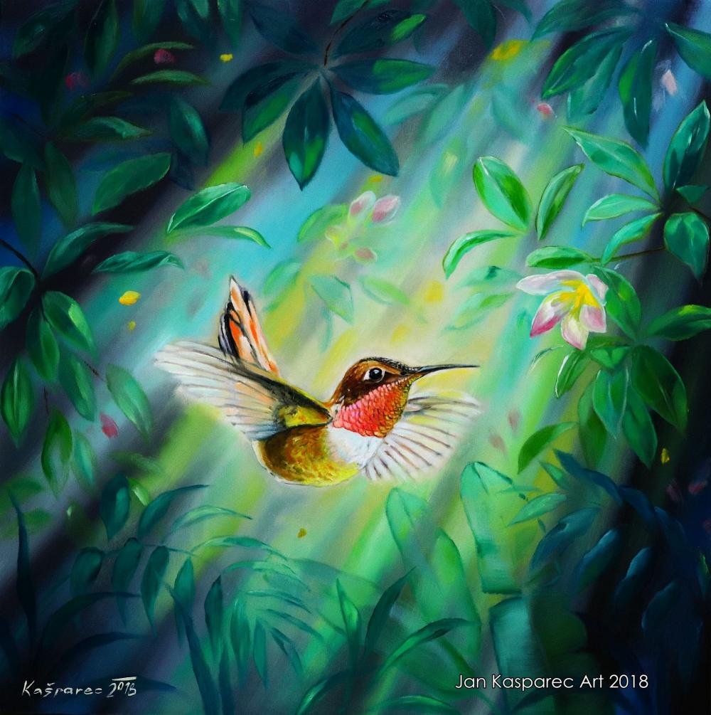 Oil painting - Humming bird 1