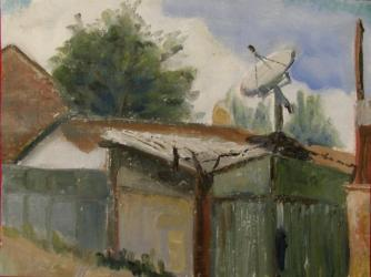 Shack with satelite - oil painting